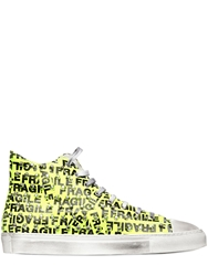 Gienchi Studded And Printed Leather Sneakers Neon Yellow