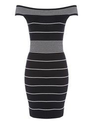 Jane Norman Stripe Off The Shoulder Jumper Dress Black White