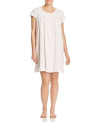 Eileen West Plus Short Sleeve Short Nightgown White Ground Floral Toss