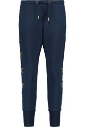Zoe Karssen Embroidered Cotton Jersey Tapered Pants Blue
