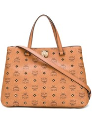Mcm Logo Pattern Medium Tote Nude And Neutrals