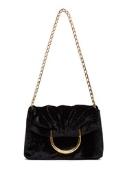 Stella Mccartney Ruched Velvet Shoulder Bag Black