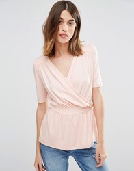 Warehouse Wrap Front Top Blush Pink