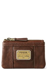 Women's Fossil 'Emory' Zip Coin Pouch Brown Espresso