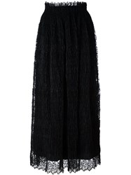Ermanno Scervino Pleated Lace Overlay Skirt Black