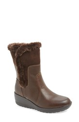 Women's Softspots 'Corby' Waterproof Wedge Boot Dark Brown Coffee Leather