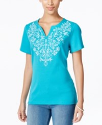 Karen Scott Short Sleeve Embroidered Top Only At Macy's New Teal