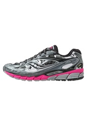 Saucony Ride 8 Gtx Cushioned Running Shoes White Black Pink