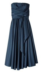 Tibi Satin Poplin Strapless Wrap Dress