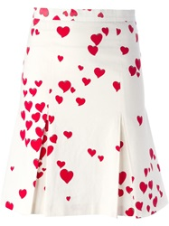 Moschino Vintage Heart Print Pleated Skirt White
