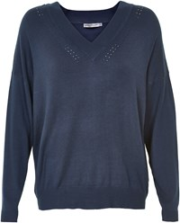 Soaked In Luxury Oversized V Neck Jumper Navy