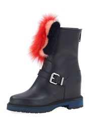 Fendi Caroline Hidden Wedge Boot W Fur Black
