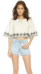 Glamorous Scalloped Hem Crop Top White Black