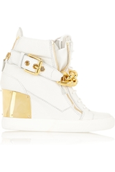 Giuseppe Zanotti Embellished Textured Leather Concealed Wedge Sneakers White