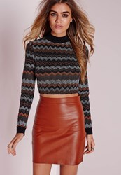 Missguided High Neck Glitter Zig Zag Crop Top Black Orange Black
