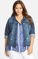 Plus Size Women's Standards And Practices 'Naomi' Denim Jacket Dark Blue