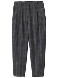 Toast Soft Wool Plaid Trousers Grey Check