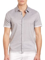 Emporio Armani Short Sleeve Cotton Shirt Grey