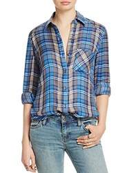 Free People Joplin Plaid Flannel Shirt Blue