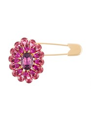 Dolce And Gabbana Crystal Flower Safety Pin Pink And Purple