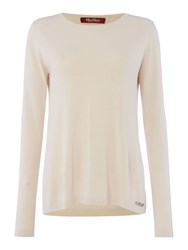Max Mara Zolfo Long Sleeve Silk Mix Jumper Cream