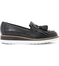 Dune Gallaxie Leather Flatform Loafers Black Leather