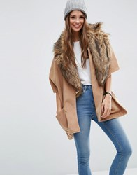 Asos Cape With Faux Fur Lapel Collar Camel Brown