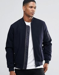Asos Wool Mix Bomber Jacket With Ma1 Pocket In Navy Navy