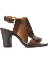 Buttero Fringed Chunky Heel Sandals Brown