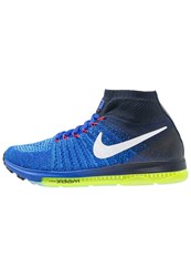 Nike Performance Zoom All Out Flyknit Cushioned Running Shoes Racer Blue White Obsidian Blue Glow