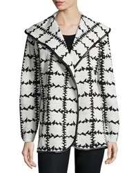 Neiman Marcus Faux Leather Trim Barbed Wire Printed Cardigan Black White