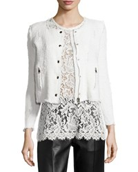 Iro Agnette Cropped Boucle Jacket White Women's Size 38