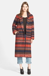 Smythe 'Louche' Woven Wool Blend Coat Red Multi