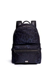 Dolce And Gabbana Leopard Print Nylon Backpack Blue Animal Print
