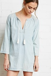 Forever 21 Embroidered Chambray Tunic Light Denim Cream