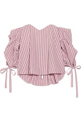 Caroline Constas Gabriella Off The Shoulder Striped Cotton Bustier Top Red