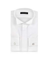 Forzieri White Textured Cotton French Cuff Tuxedo Shirt