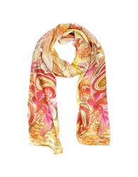 Mila Schon Flowers And Paisley Print Silk Stole Pink Orange