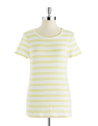 Lord And Taylor Striped Crew Neck Tee Citron