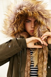 Members Only Faux Fur Lined Hooded Parka Green