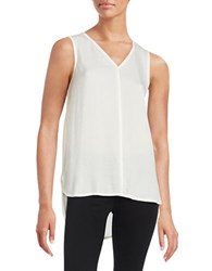 Lord And Taylor Woven Front V Neck Shell Ivory