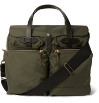 Filson 72 Hour Leather Trimmed Canvas Briefcase Green