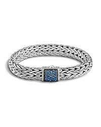 John Hardy Classic Chain Sterling Silver Lava Large Bracelet With Blue Sapphire Blue Silver