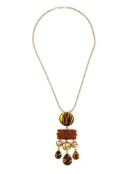 Yves Saint Laurent Vintage Tiger Effect Pendant Necklace Metallic