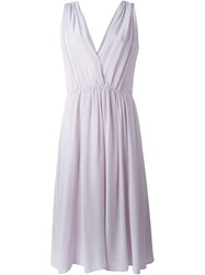 Forte Forte Flared V Neck Dress Pink And Purple
