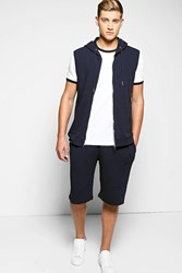 Boohoo Pique Tracksuit Navy