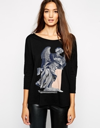 Sisley T Shirt With Statue Print Blackmulti