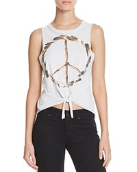 Chaser Tie Front Peace Sign Muscle Tee Misty