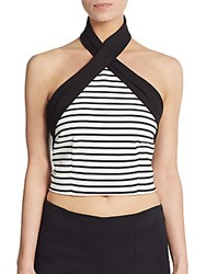 Nicholas Striped Crisscross Crop Halter Top White Black