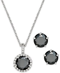 Charter Club Silver Tone Jet Stone Pendant Necklace And Stud Earrings Boxed Set Only At Macy's